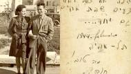 """Hannah Szenes und ihr Bruder Giora 1944, kurz bevor sie zu ihrer tödlichen Mission aufbricht. Auf der Rückseite des Fotos schreibt sie: """"Siehe, wie gut und wie angenehm es für Geschwister ist, in Einvernehmen zu leben."""""""