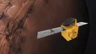 """Die """"Hope""""-Sonde soll die Bedingungen in der Marsatmosphäre im Wechsel der Tages- und Jahreszeiten erforschen."""