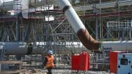Blick auf die Baustelle der Empfangsstation der Ostseepipeline Nord Stream 2 bei Lubmin in Mecklenburg-Vorpommern.