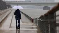 Ein Mann steht mit Regenschirm an der Freitreppe am Rheinufer, die ein Stück überflutet ist