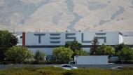 Blick auf das Tesla-Werk in Fremont, Kalifornien