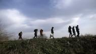 Migranten gehen in der Nähe der türkisch-griechischen Grenze auf einem Hügel entlang.