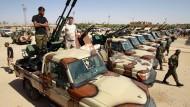 Truppen der Libyschen Nationalen Armee, die von General Haftar kommandiert wird