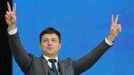 Gab sich schon vor der Stichwahl in der Ukraine siegreich: Herausforderer Wolodymyr Selenskyj.