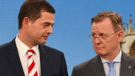 Der CDU-Landesvorsitzende Mike Mohring (l.) neben dem Amtsinhaber und Linke-Spitzenkandidaten Bodo Ramelow im Oktober 2019 im Thüringer Wahlkampf