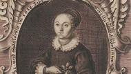 """Postum erschienen: """"Deutsche Poetische Gedichte"""" von 1650 mit einem Kupferstichporträt von Sibylla Schwarz["""