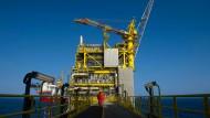 Eine Ölplattform in der Nordsee vor Schottlands Küste