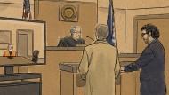 Diese Gerichtsskizze zeigt den Hauptangeklagten Derek Chauvin, der per Videoschalte aus dem Gefängnis an einer Anhörung teilnimmt.