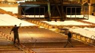 Mitarbeiter der Aurubis AG überwachen wie Kupferplatten in ein Elektrolysebad in der Elektrolysehalle des Hamburger Kupferkonzerns getaucht werden.
