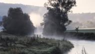 Solche Stimmungen, krumme Holzzäune, die wie Land-Art wirken, Wiesen, über die der Blick den Auslauf genießt – Morgennebel im Jagsttal.