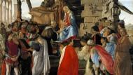 Selbstbildnis mit Anbetern: Auf Botticellis Florentiner Bild von um 1473 kniet Cosimo de Medici zu Füßen des Kindes, sein Sohn und Nachfolger rot leuchtend in der Mitte, während der Maler rechts am Rand steht.