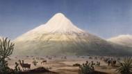 Am 23 Juni 1802 versuchte Humboldt, den Chimborazo (nach einer Zeichnung von Thibault) im heutigen Ecuador zu besteigen. Obwohl er scheiterte, gehört dieses Abenteuer zu den berühmtesten Episoden seines Reisewerks.