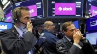 An der New Yorker Börse reißen sich die Händler um die Slack-Aktie