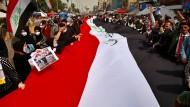 Protest in Corona-Zeiten: Trotz der Pandemie gehen im März Regierungskritiker in Bagdad auf die Straße