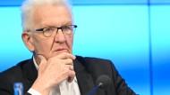 Winfried Kretschmann am Dienstag in Stuttgart bei einer Regierungspressekonferenz