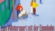 Mit diesem Plakat von Hans Jegerlehner wurde in der Schweiz schon in den Fünfziger Jahren die Anreise per Bahn beworben.