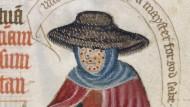 Die Angst vor der Seuche ist mindestens so ansteckend: Aussätzige Frau in einer englischen Buchmalerei des 14. Jahrhunderts