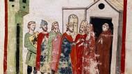 Keine Cousine: Kaiser Heinrich VI. heiratete im Jahr 1186 Konstanze von Sizilien, die Tochter des dortigen Normannenkönigs. Diese Darstellung entstand etwa 200 Jahre später.