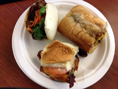 A plate of handwiches from Burkes Bacon Bar