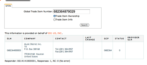 A screen shot of the Music District manufacturer ID number