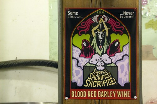 Any similarities between an Electric Wizard poster and this promo print for Illuminateds Blood Red Barley Wine are, I can assure you, entirely coincidental.