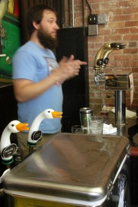 Goose Island Clybourn brewer Jon Naghski is not this blurry in real life.