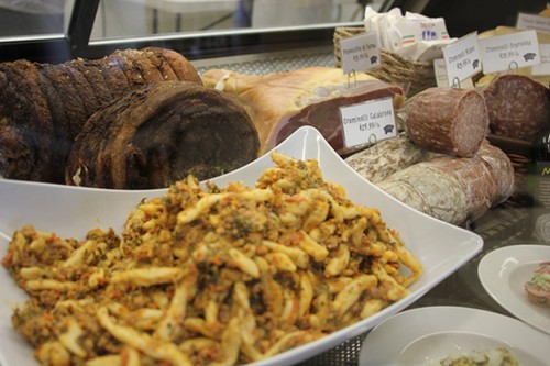Housemade pasta and roast beef sit next to well-chosen cured meats.