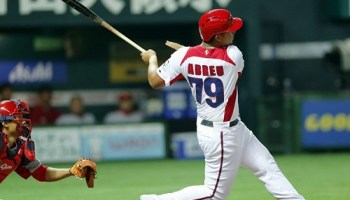 Jose Abreu hits a grand-slam for Cuba against China in March in a World Baseball Classic game in Japan