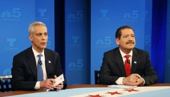 Mayor Rahm Emanuel and Cook County Commissioner Jesus Chuy Garcia before the first runoff debate begins Monday night.