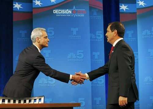 Mayor Rahm Emanuel and Cook County Commissioner Jesus Chuy Garcia before the first runoff debate last week. They meet again tonight, with the debate airing on Fox 32 from 9 to 10 PM.