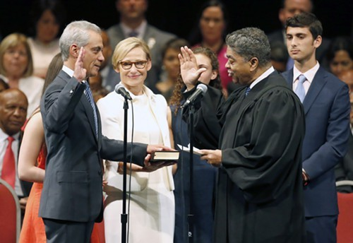 Mayor Rahm Emanuel was sworn in for his second term and resumed his campaign to be seen as a nice guy.