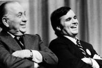 Mayor Richard J. Daley with his son Richard M. at a political rally in 1974. Father and son both graduated from Nativity of Our Lord elementary and De La Salle Institute.