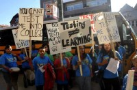 Students protesting outside of Wells High School during the teachers strike in September.