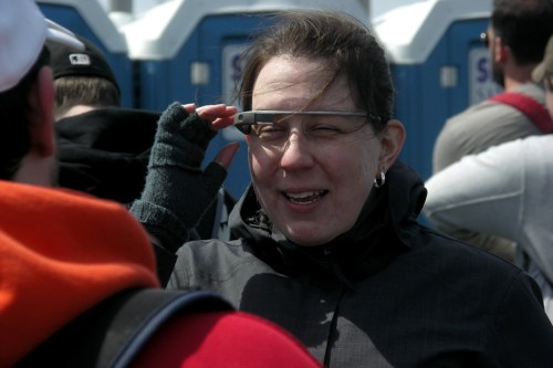 That isnt her Google Glass, so I still havent seen a human female who owns one.