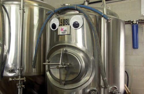 The folks at Rude Hippo share space at Slapshot too--and their fermenter absolutely cannot believe it!