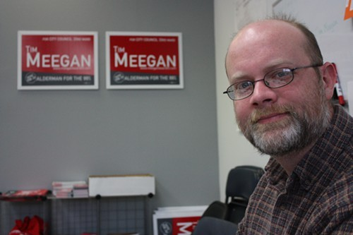 Tim Meegan, 33rd Ward candidate, working at his campaign office in Albany Park.