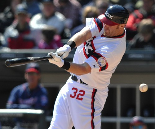 Adam Dunn, whiffing in April 2013--one of his 720 strikeouts in four seasons with the White Sox