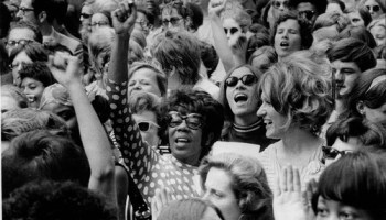 Women at Daley Plaza during the Womens Strike on August 26, 1970.