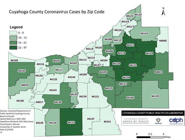 COVID-19 Cases in Cuyahoga County by Zip Code   Scene and Heard: Scene's News Blog