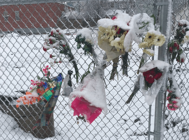 """A makeshift memorial set up on Gottingen Street for Thomas """"Willard"""" Comeau, who was killed last week by a truck driver. - VIA @HUSKERMOULD ON TWITTER"""