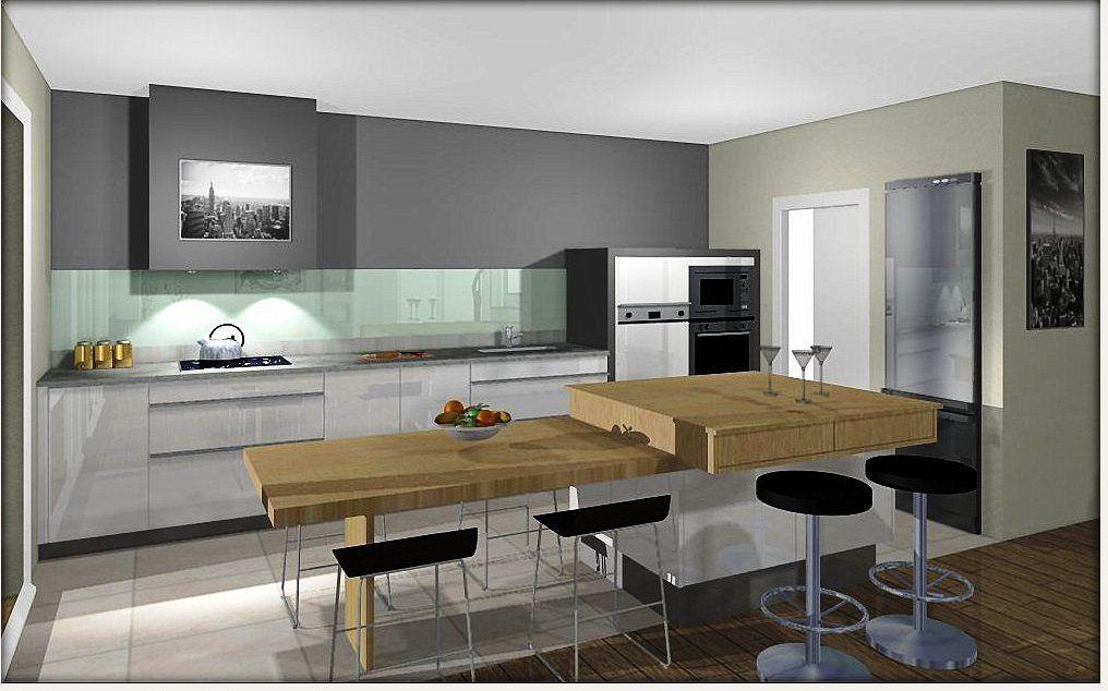 ilot central cuisine avec table escamotable