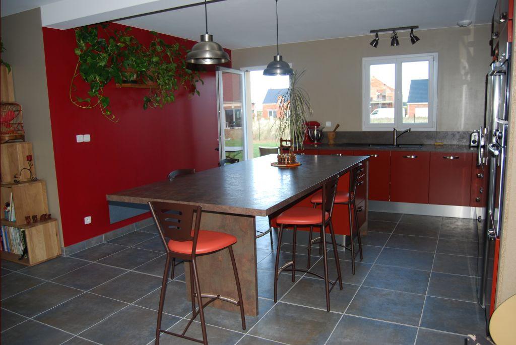 meuble de cuisine rouge pas cher