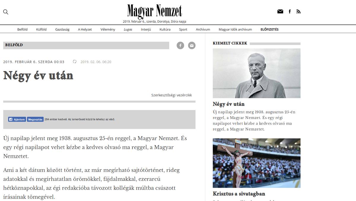 Négy év után, Magyar Nemzet