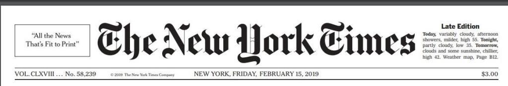 A The New York Times borítójának részlete