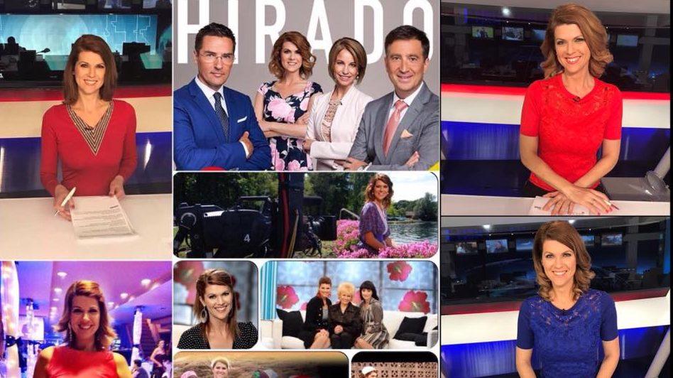 Jaksity Kata, az ATV Híradó műsorvezetőivel