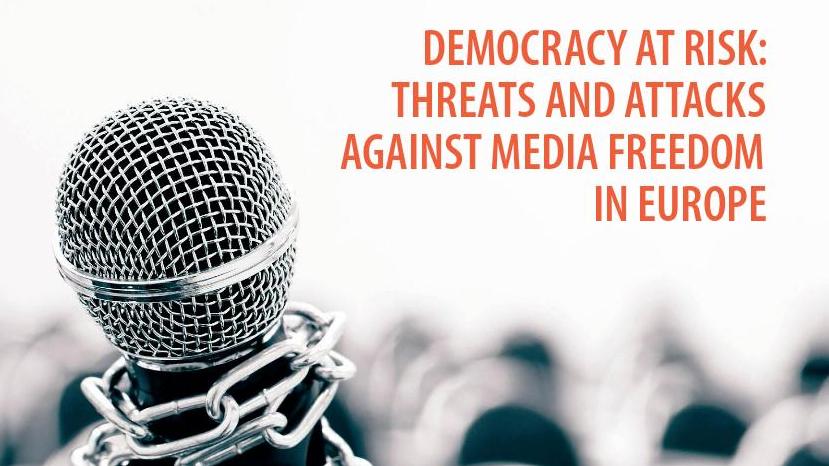 Az Európa Tanács DEMOCRACY AT RISK:THREATS AND ATTACKS AGAINST MEDIA FREEDOM IN EUROPE című jelentésének borítórészlete