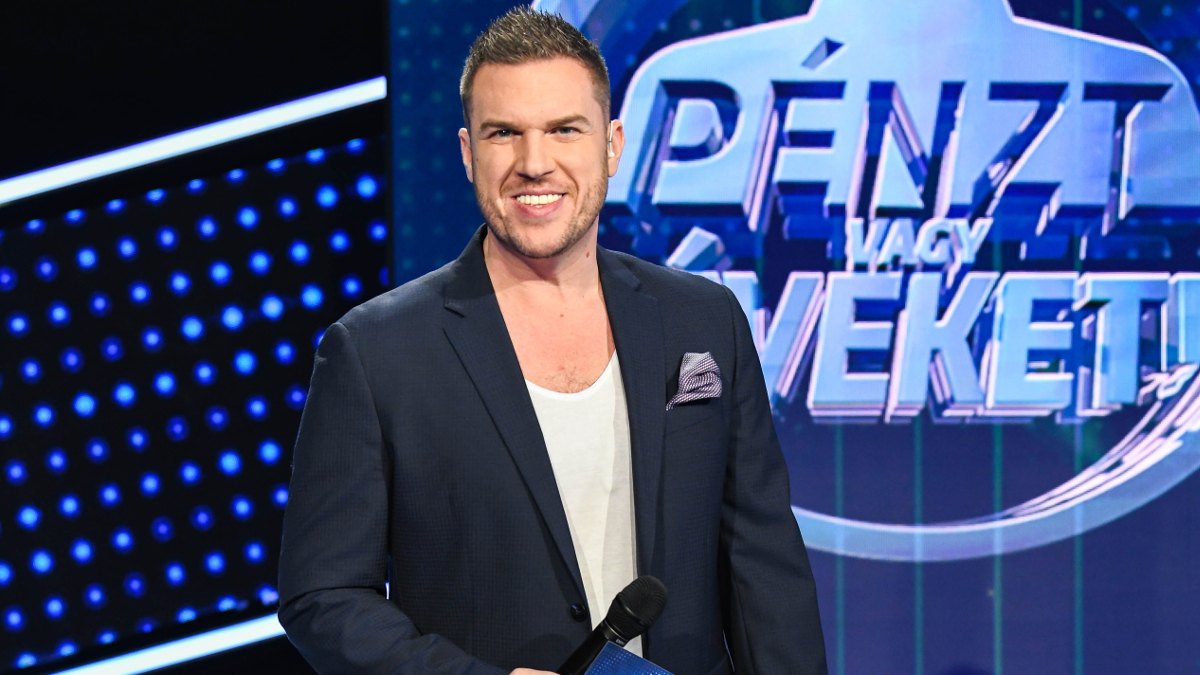 A TV2 Pénzt vagy éveket! című játékának műsorvezetője, Kasza Tibi. fotó: TV2 sajtószoba