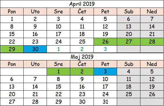 april i maj 2019 neradni dani