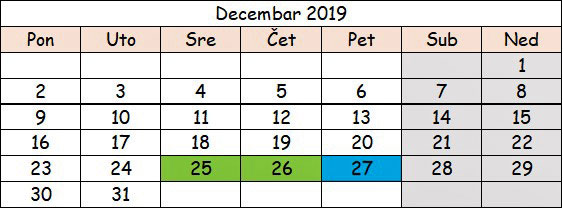 Decembar 2019 slovenija neradni dani