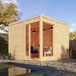 abri de jardin en bois massif 28mm toit plat qubu eck 9 24m karibu